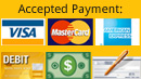 We gladly accept visa, mastercard, american express, debit card, cash, or check.
