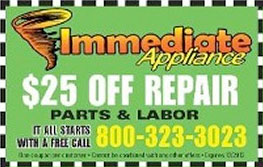 Coupon Image For Appliance Repair Service - Immediate Appliance Repair